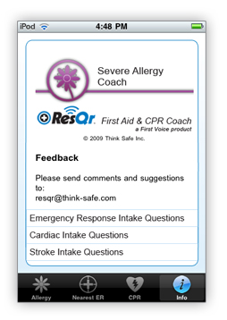 Severe Allergy Coach info tab